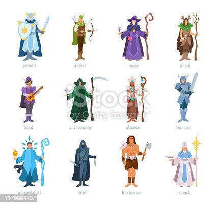 Armed heroes in costumes standing, posing. Vector illustration isolated on white background.
