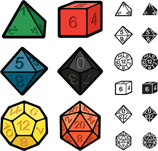 roleplaying games polyhedral dice set - dice stock illustrations, clip art, cartoons, & icons
