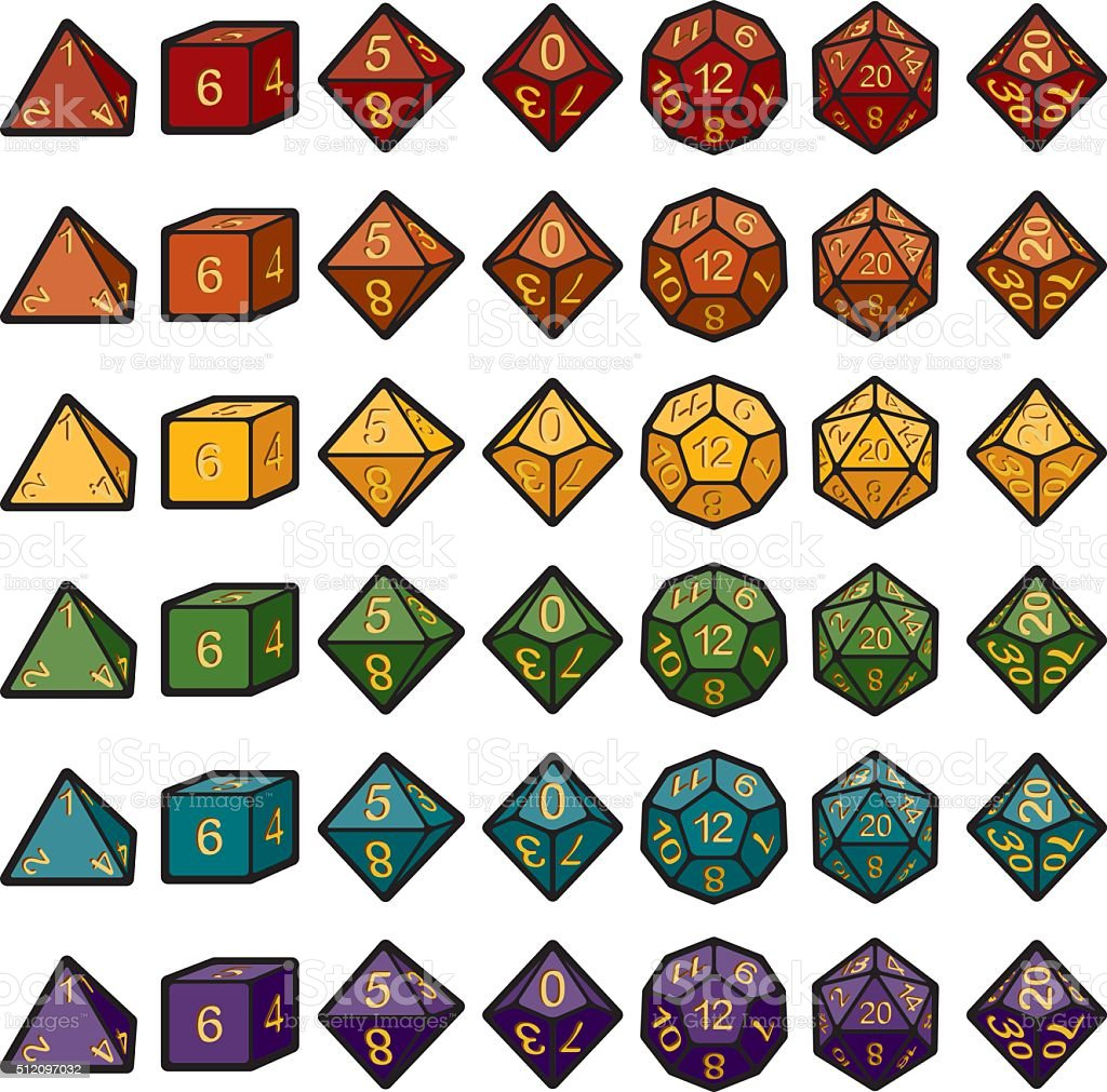 Roleplaying Polyhedral Dice Sets vector art illustration
