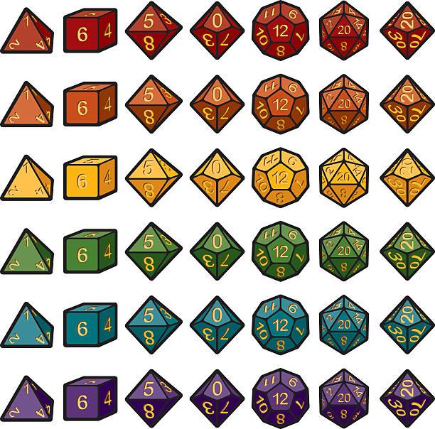 stockillustraties, clipart, cartoons en iconen met roleplaying polyhedral dice sets - veelvlakkig