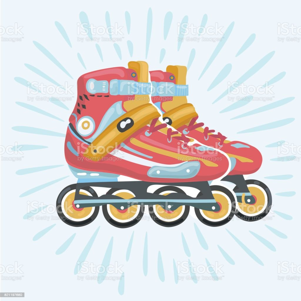 Roler blade vector, rollerskating, rollerblading, orange roller blade, sport equipment vector art illustration