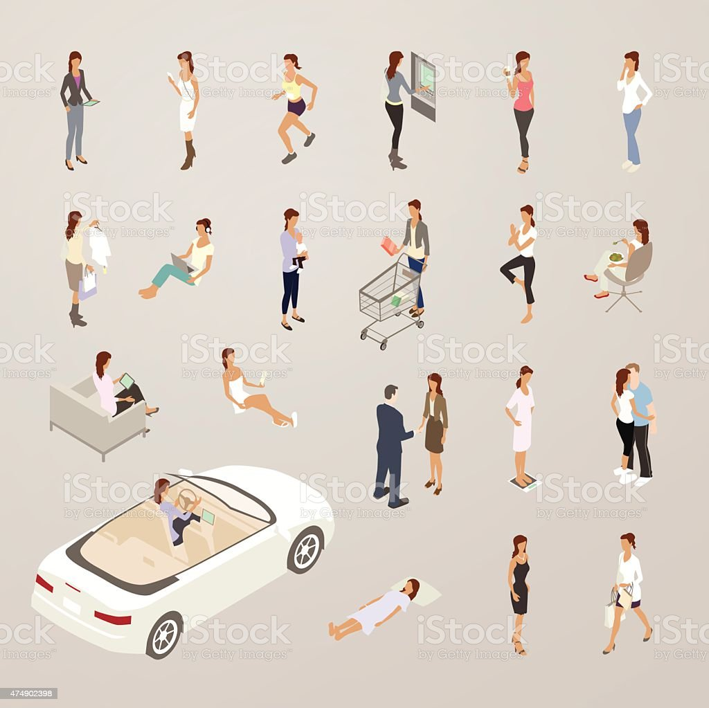 Roles of One Woman - Flat Icons Illustration vector art illustration