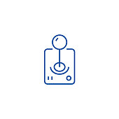 Roll joystick  line concept icon. Roll joystick  flat  vector website sign, outline symbol, illustration.