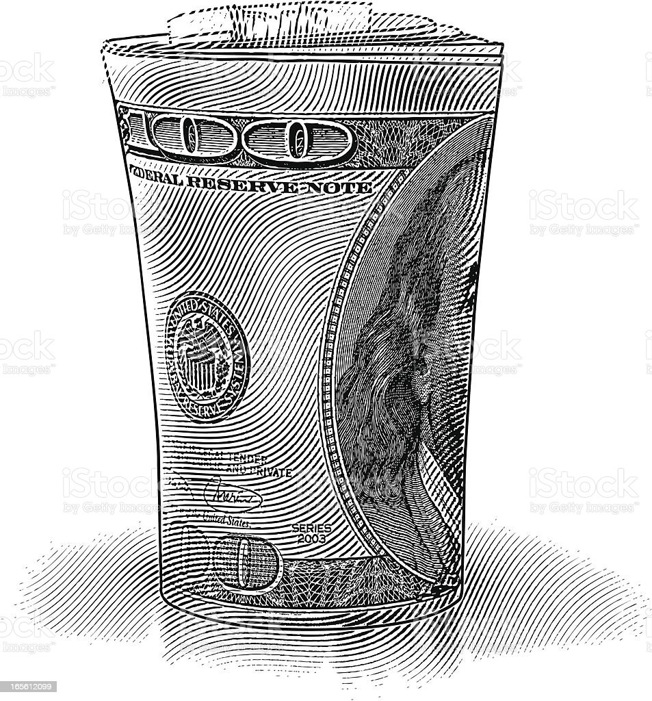 Roll of $100 Dollar Bills vector art illustration
