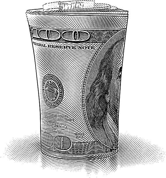 рулет $100 долларов банкноты - граттаж stock illustrations