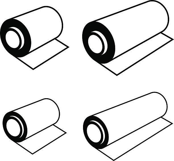 roll of any foil black symbols - aluminum foil roll stock illustrations, clip art, cartoons, & icons