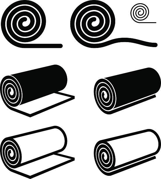 illustrazioni stock, clip art, cartoni animati e icone di tendenza di roll of anything black symbol - rotolo