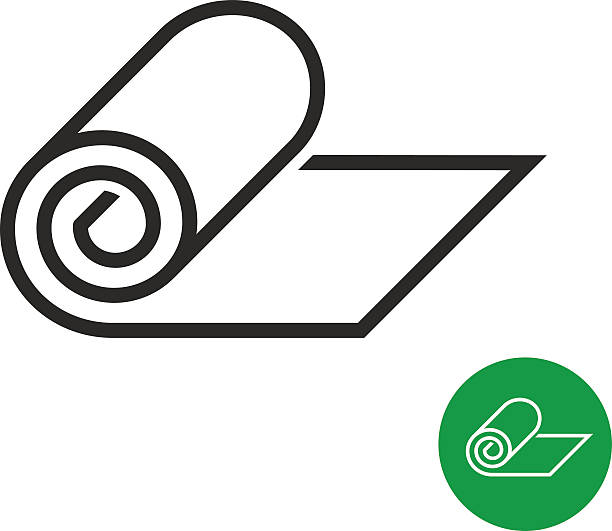 roll of camping or fitness carpet icon - 말기 stock illustrations