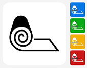 Roll of Fabric Icon. This 100% royalty free vector illustration features the main icon pictured in black inside a white square. The alternative color options in blue, green, yellow and red are on the right of the icon and are arranged in a vertical column.