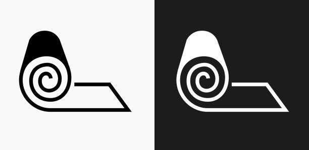illustrazioni stock, clip art, cartoni animati e icone di tendenza di roll of fabric icon on black and white vector backgrounds - rotolo
