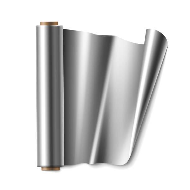 roll of foil - aluminum foil roll stock illustrations, clip art, cartoons, & icons