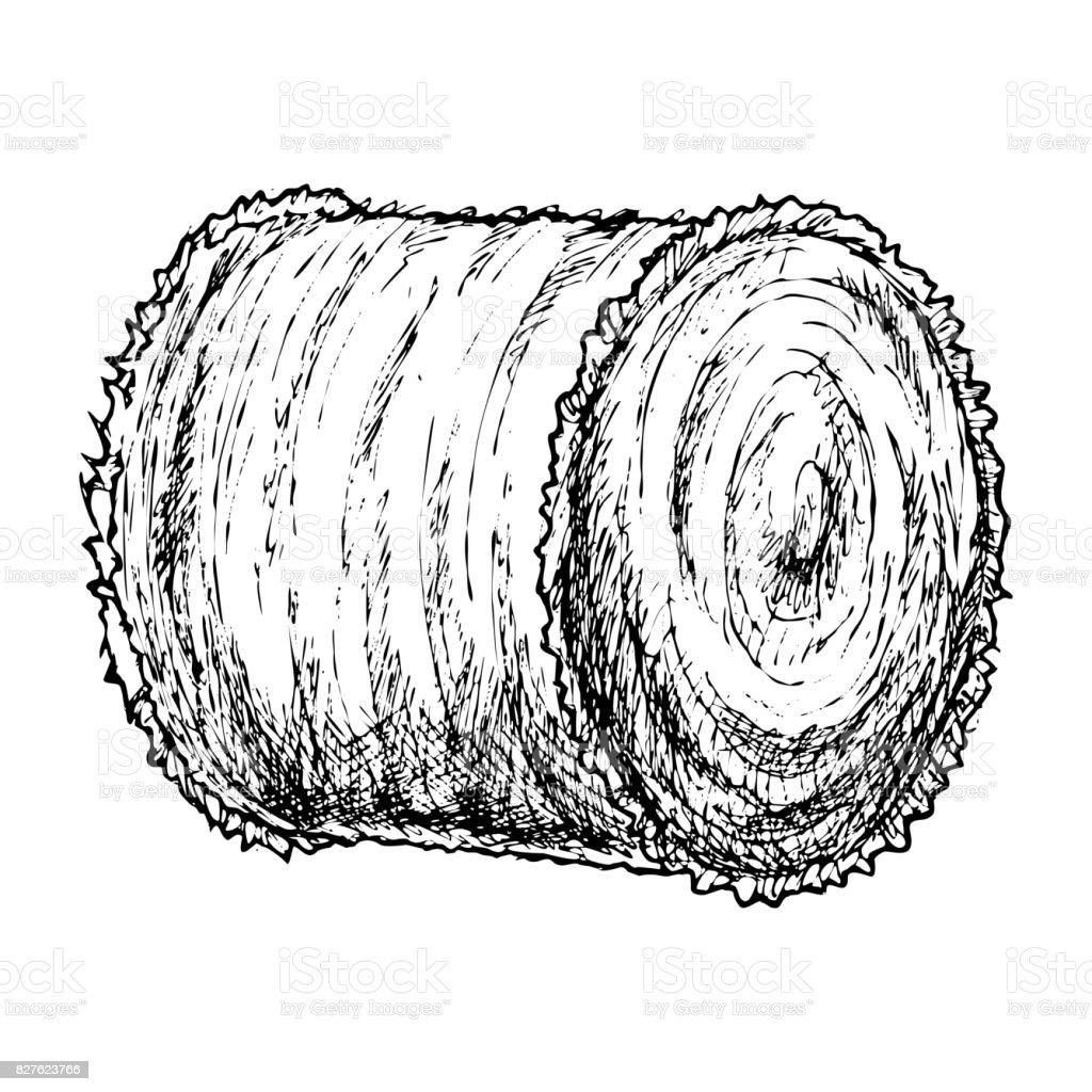 Roll of hay sketch vector art illustration