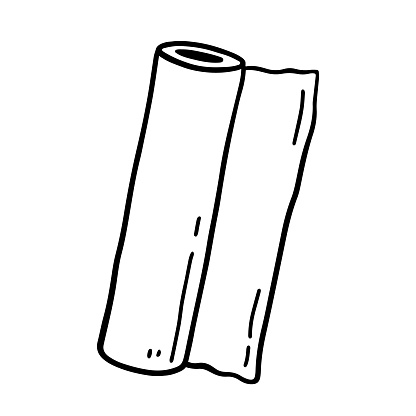 Roll of paper towels isolated on white background. Vector hand-drawn illustration in doodle style. Suitable for your projects, decorations, logo, various designs.