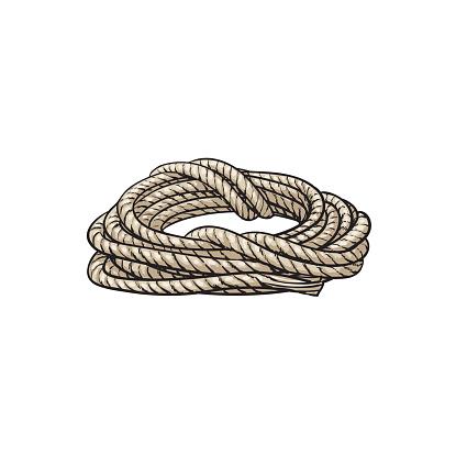 Roll of ship rope, cartoon vector illustration