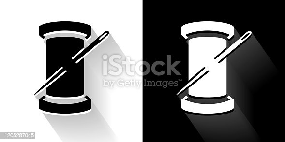 Roll of Thread Black and White Icon with Long Shadow. This 100% royalty free vector illustration is featuring the square button and the main icon is depicted in black and in white with a black icon on it. It also has a long shadow to give the icons more depth.