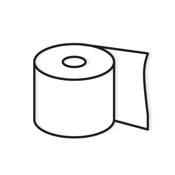 illustrazioni stock, clip art, cartoni animati e icone di tendenza di roll of toilet paper icon - carta igienica