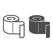 Roll of toilet paper line and solid icon, Hygiene routine concept, Roll paper towel sign on white background, toilet paper icon in outline style for mobile concept and web design. Vector graphics