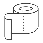 Roll of toilet paper thin line icon, Hygiene routine concept, Roll paper towel sign on white background, toilet paper icon in outline style for mobile concept and web design. Vector graphics