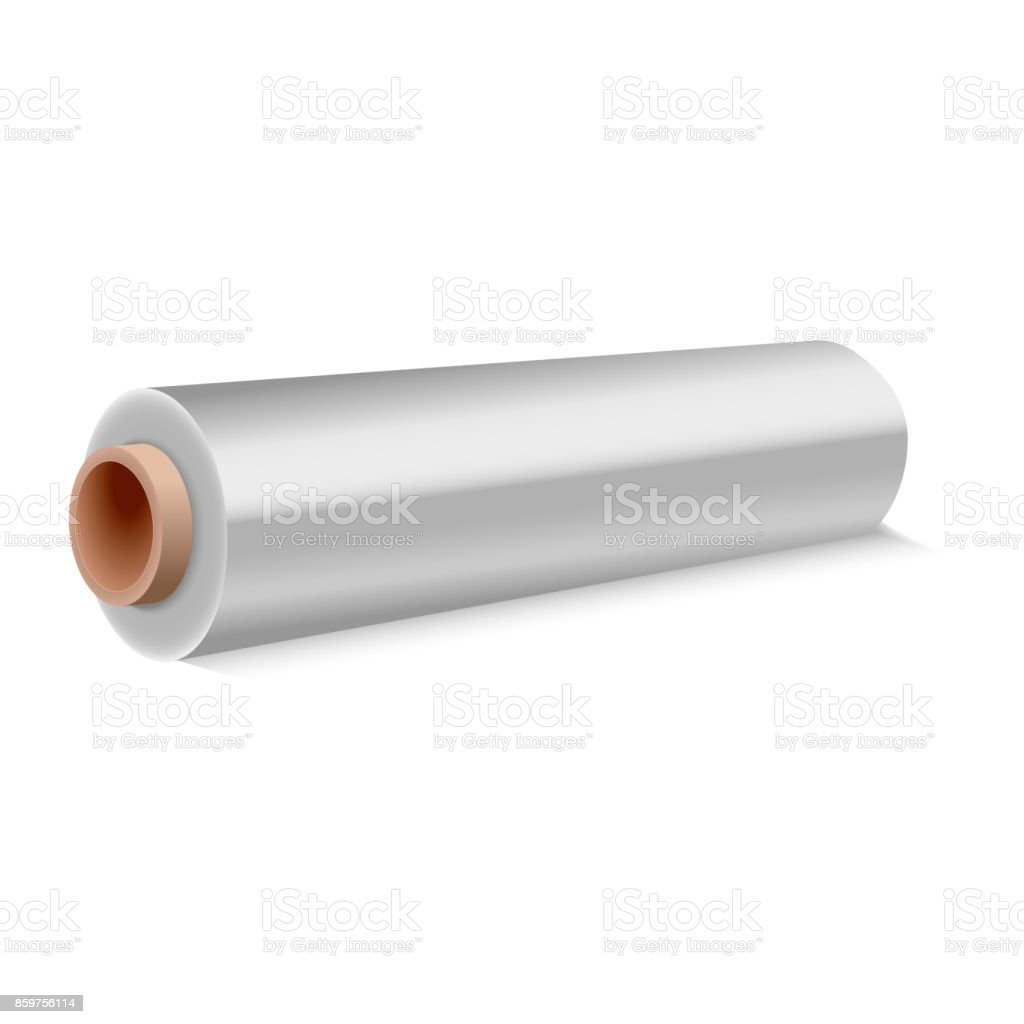 Roll of wrapping plastic stretch film on white background. Vector illustration. vector art illustration
