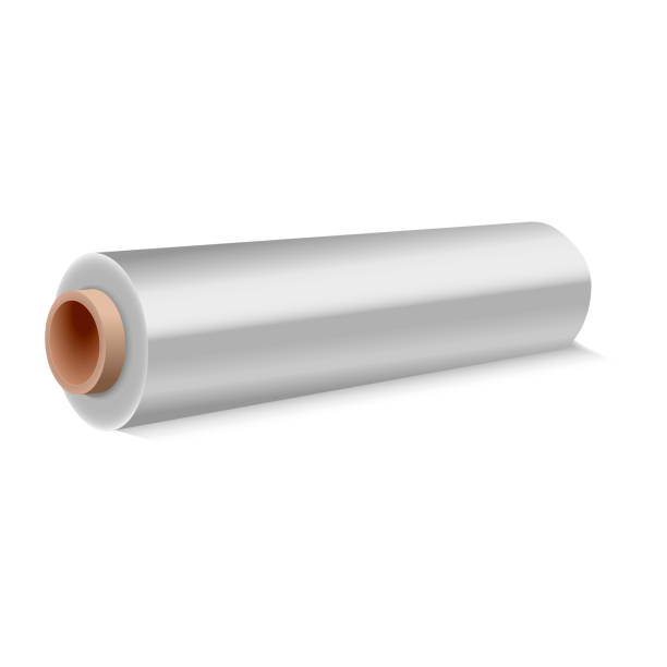 roll of wrapping plastic stretch film on white background. vector illustration. - aluminum foil roll stock illustrations, clip art, cartoons, & icons