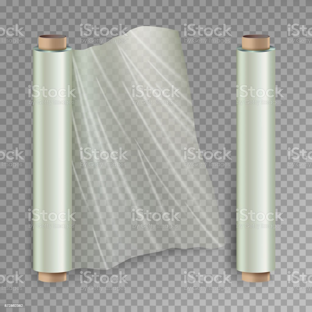 Roll Of Wrapping Stretch Film Vector. Opened And Closed Polymer Packaging. Cellophane, Plastic Wrap. Isolated On Transparent Background Illustration vector art illustration