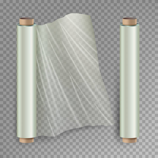roll of wrapping stretch film vector. opened and closed polymer packaging. cellophane, plastic wrap. isolated on transparent background illustration - aluminum foil roll stock illustrations, clip art, cartoons, & icons