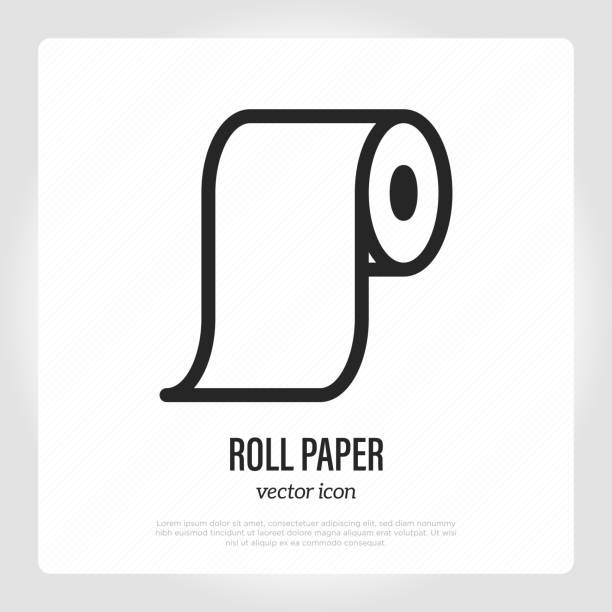 Roll paper thin line icon. Vector illustration. Roll paper thin line icon. Vector illustration. toilet paper stock illustrations
