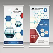Roll up banner business design on background.