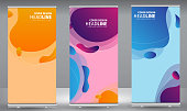 Roll up banner colorful geometric standee business brochure template design. Vertical Abstract colorful geometric texture background Can be adapt to Brochure, Report, Magazine, Poster.
