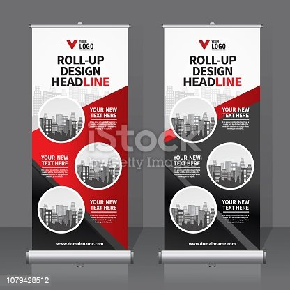 Roll up banner for your company or business, vector file, high quality, clean, creative, easy to edit, modern design x-banner, roller