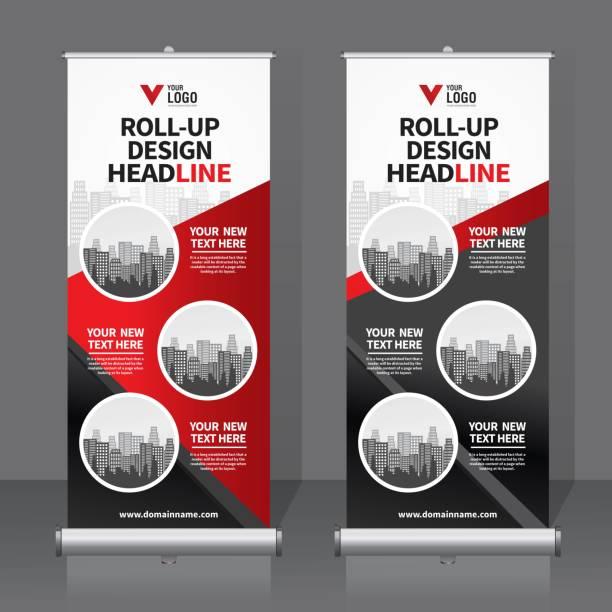 illustrazioni stock, clip art, cartoni animati e icone di tendenza di roll up banner design template, vertical, abstract background, pull up design, modern x-banner, rectangle size. - rotolo