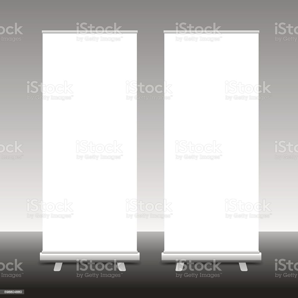 Roll Up Banner Stand, 3D, vector illustration vector art illustration