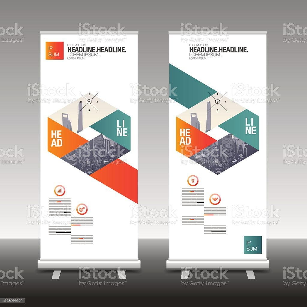 Roll Up Banner Stand Design vector art illustration