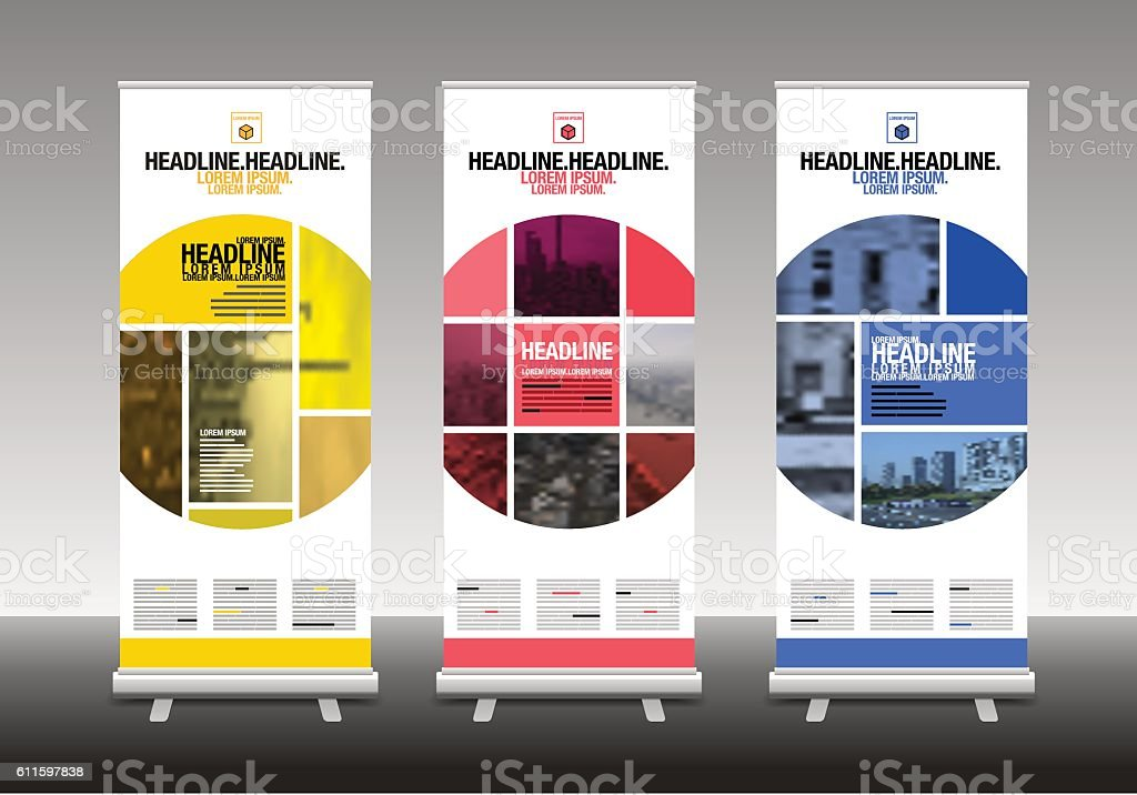 Stand Up Banner Designs : Roll up banner stand design stock vector art more images