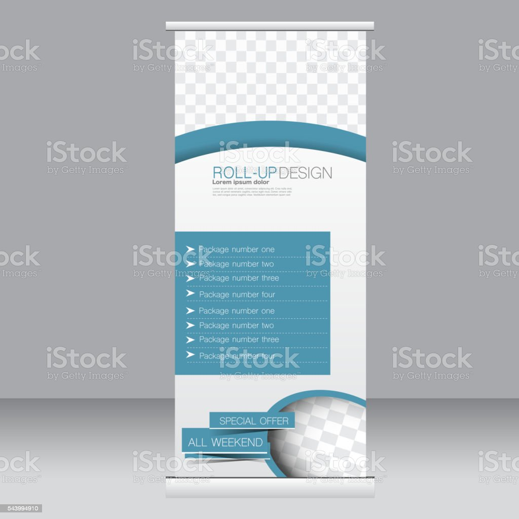 Roll up banner stand template vector art illustration
