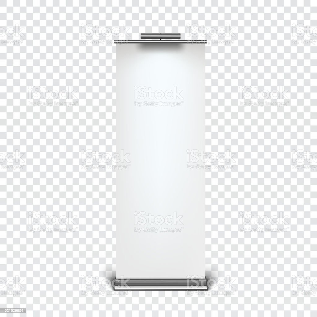 Roll up banner stand vector art illustration
