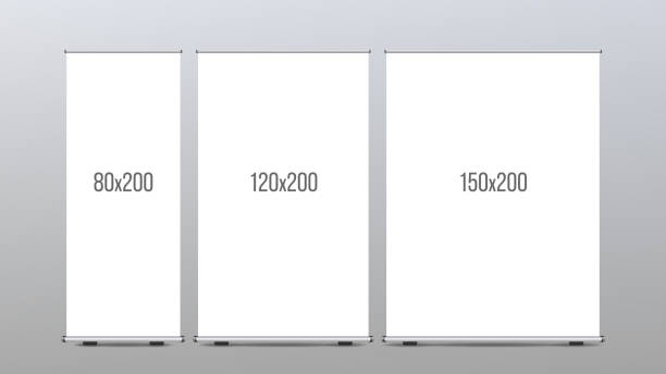 Roll Up Banner Stand Vector. Vertical Board Set For Trade Advertising Design. Corporate Business Roll Up. Empty Template vector art illustration