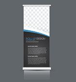 Roll up banner stand. Vertical information board template design. Blue and black color vector illustration.