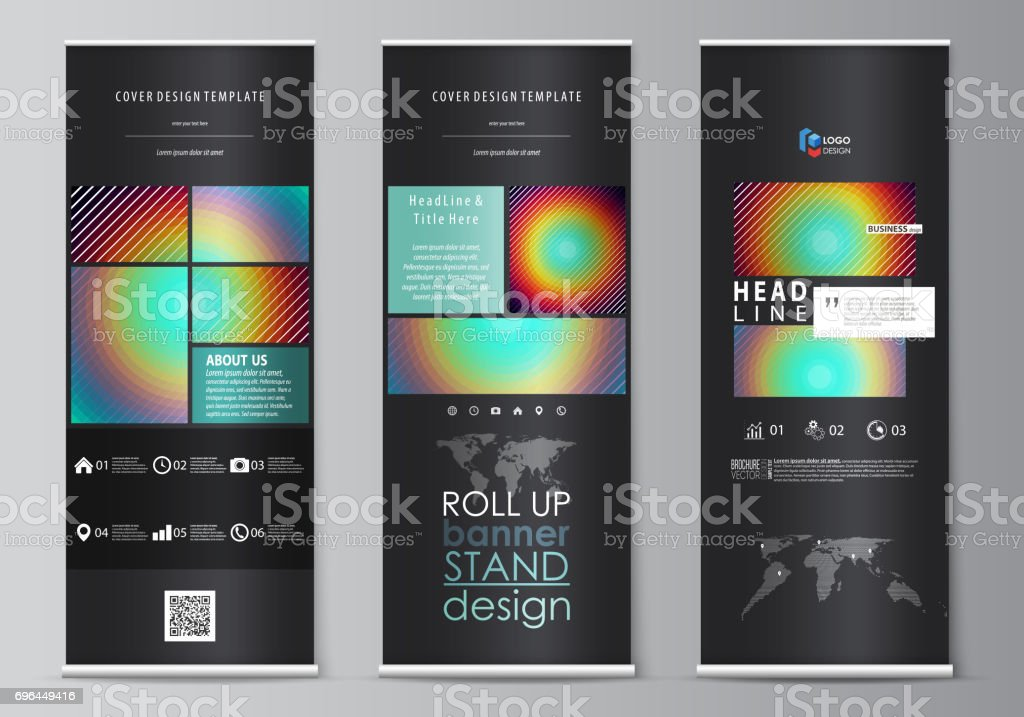 Roll up banner stands, abstract geometric style templates, corporate vertical vector flyers, flag layouts. Minimalistic design with circles, diagonal lines. Geometric shapes forming retro background - illustrazione arte vettoriale