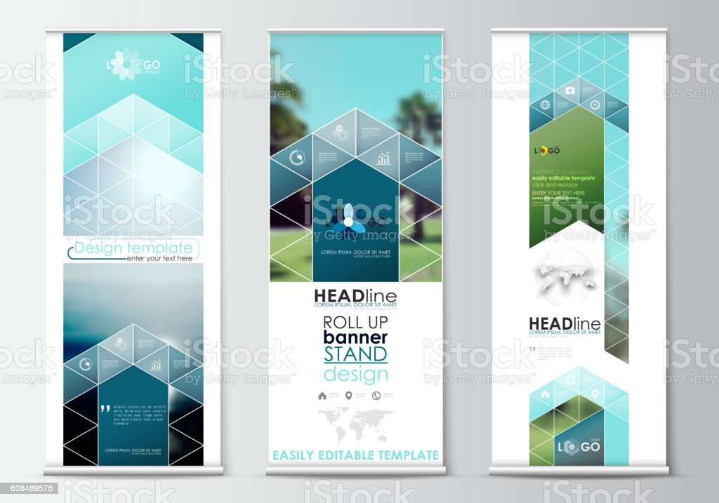 Roll up banner stands, flat design, abstract geometric templates, modern vector art illustration