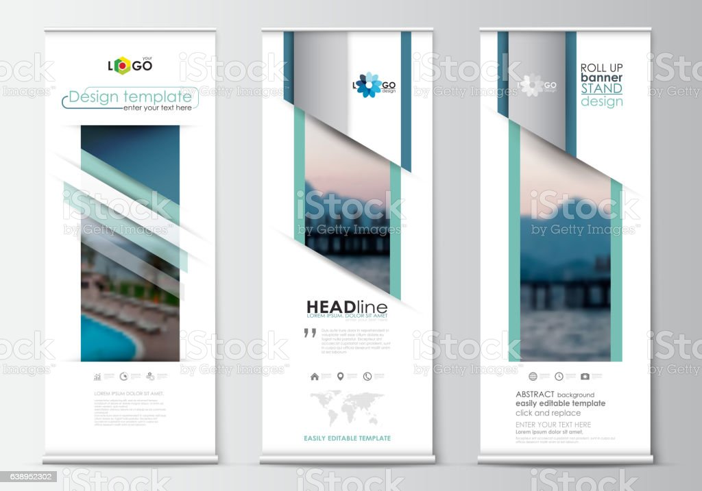 Roll Up Banner Stands Flat Design Abstract Geometric Templates ...