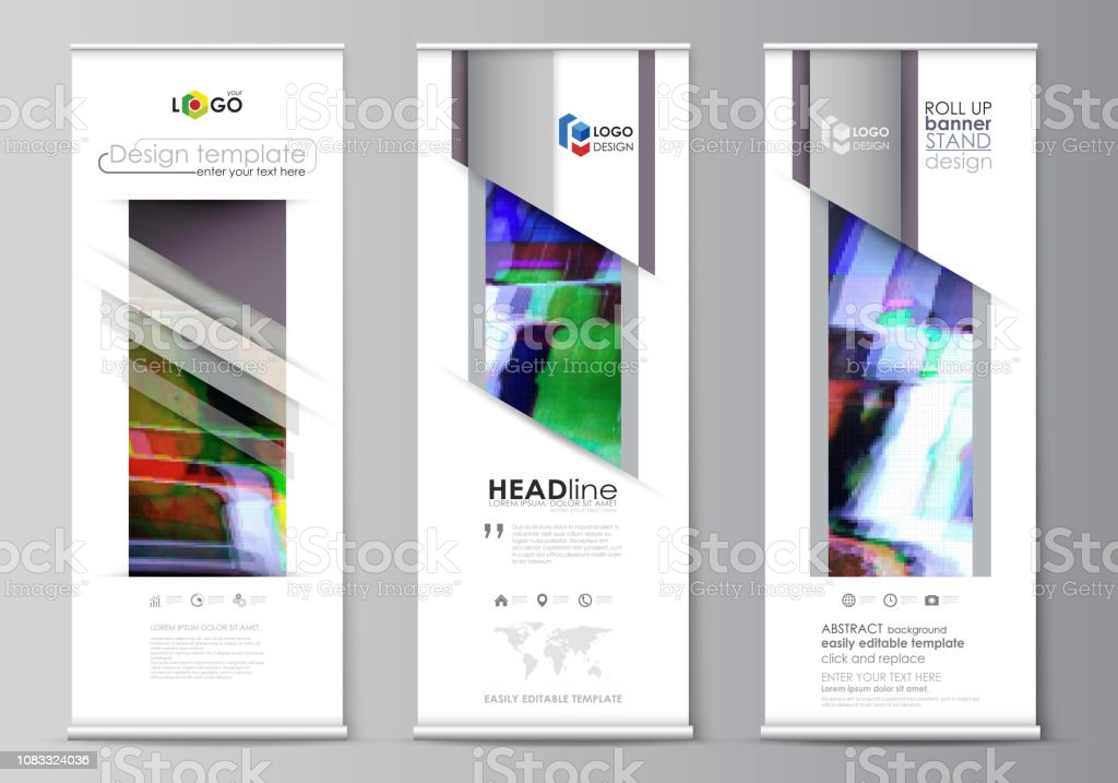 Roll Up Banner Stands Flat Design Templates Abstract Style
