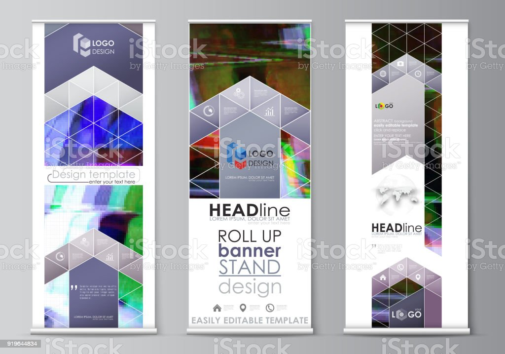 roll up banner stands flat design templates abstract style vertical
