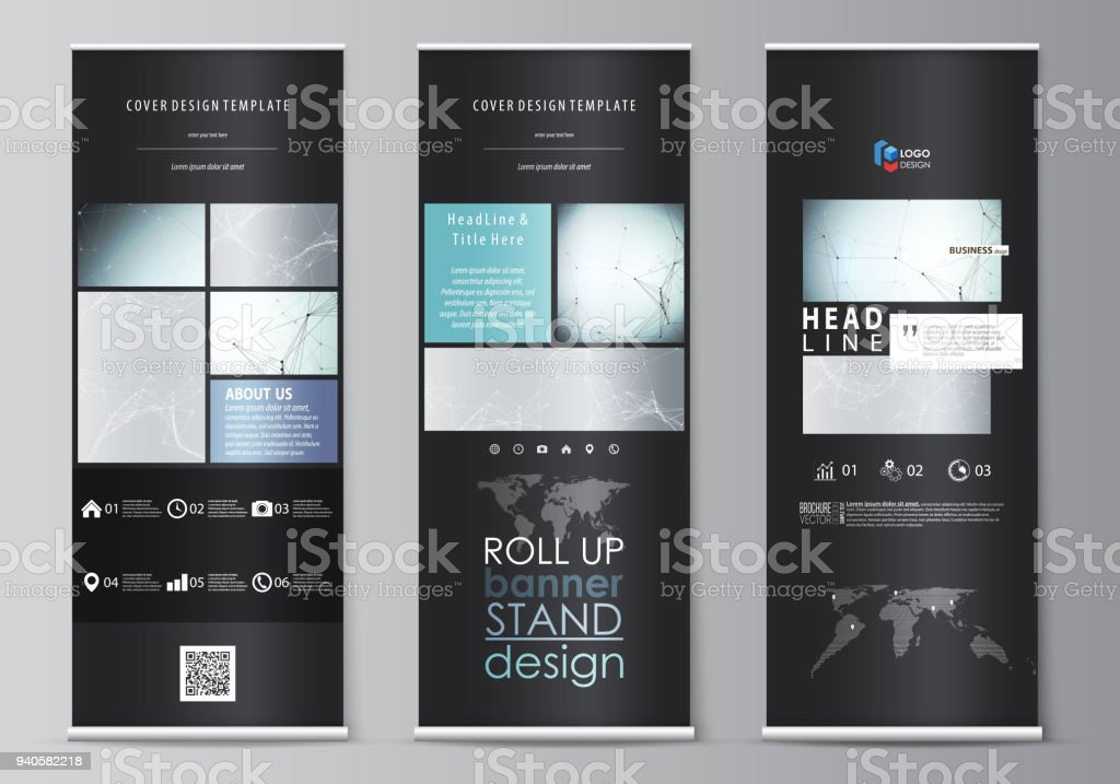 roll up banner stands flat design templates corporate vertical