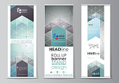 Set of roll up banner stands, flat design templates, abstract geometric style, modern business concept, corporate vertical vector flyers, flag layouts. Geometric background, connected line and dots. Molecular structure. Scientific, medical, technology concept.