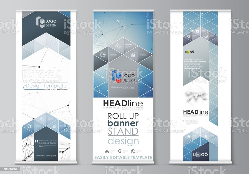Roll Up Banner Stands Flat Design Templates Geometric Style Vertical Vector Flyers Flag Layouts Geometric Blue Color Background Molecule Structure