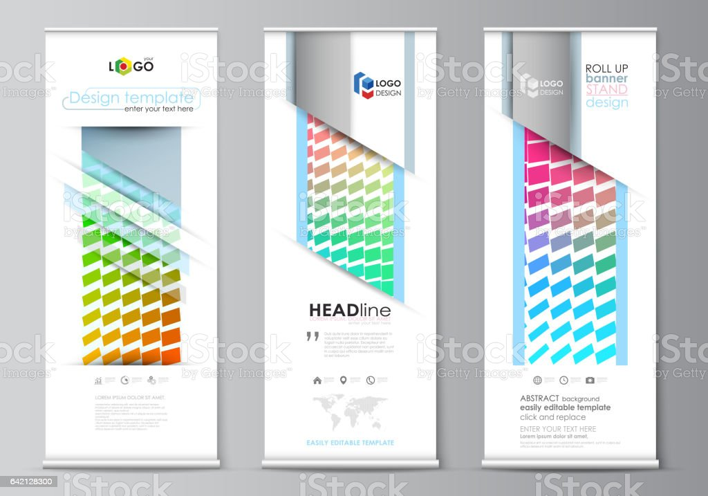Roll Up Banner Stands Flat Design Templates Modern Business Concept  Corporate Vertical Vector Flyers Flag Layouts Colorful Rectangles Moving  Dynamic