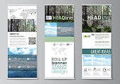 Set of roll up banner stands, flat design templates, abstract geometric style, modern business concept, corporate vertical vector flyers, flag layouts. Colorful background made of triangular or hexagonal texture for travel business, natural landscape in polygonal style.