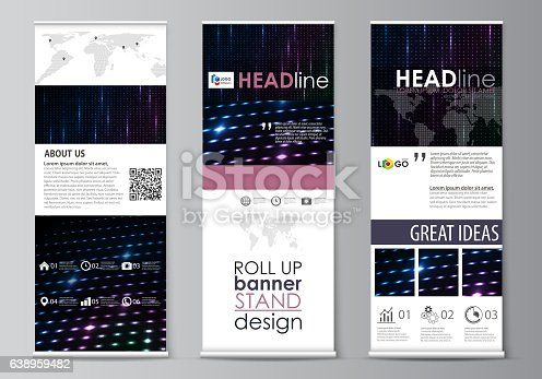 Roll Up Banner Stands Flat Style Templates Modern Concept Corporate ...