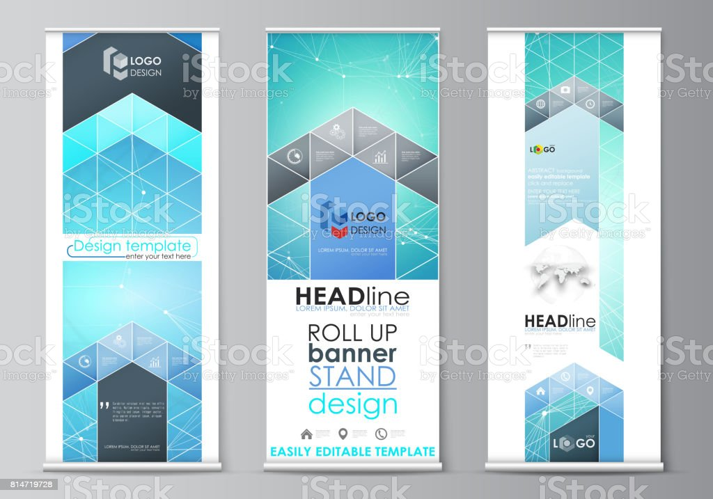 roll up banner stands geometric design templates vertical vector